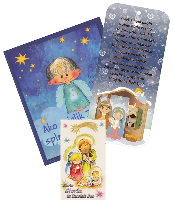 Sada 14: Ako anjelik Zlatúšik...+ Obrázok na dreve + Obrázok vianočný