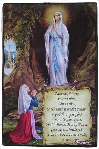 Obraz na dreve: Lurdy + modlitba (485/A) (15x10)