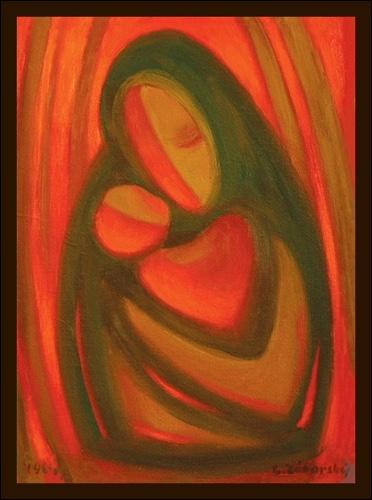 Obraz: Malý Ježiško s jeho Matka - jedno srdce  15 x 10 cm