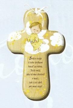 Drevený krížik s modlitbou (CM-2)