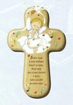 Drevený krížik s modlitbou (CM-3)