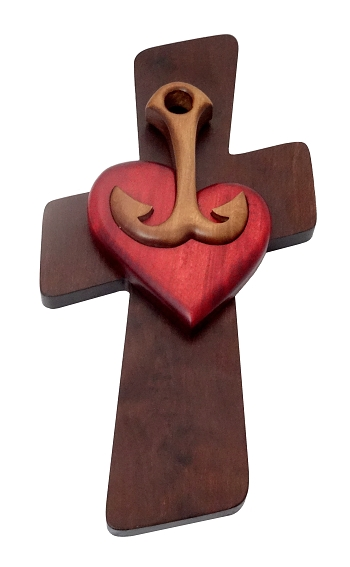 Drevorezba (JC04) Srdce, Kotva Kríž - červené srdce