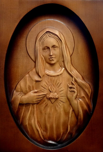 Drevorezba: Obraz - Srdce Panny Márie (DR-34A/OP)
