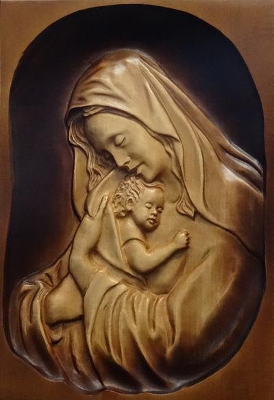 Drevorezba: Obraz - Panna Mária s Ježiškom (DR-36B)