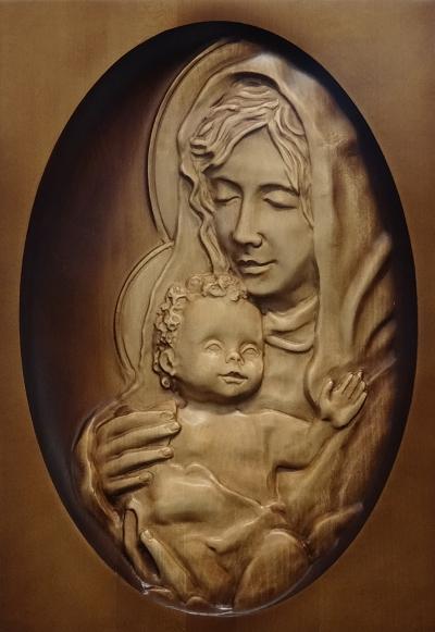 Drevorezba: Obraz - Panna Mária s Ježiškom (DR-89B)