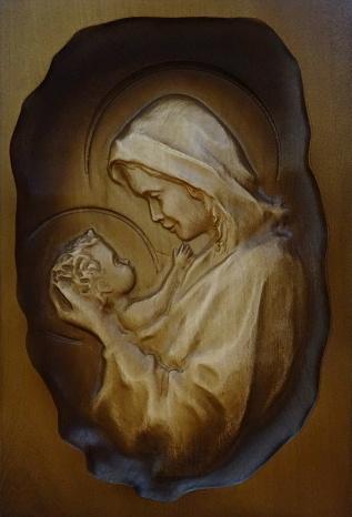 Drevorezba: Obraz - Panna Mária s Ježiškom (DR-20F)