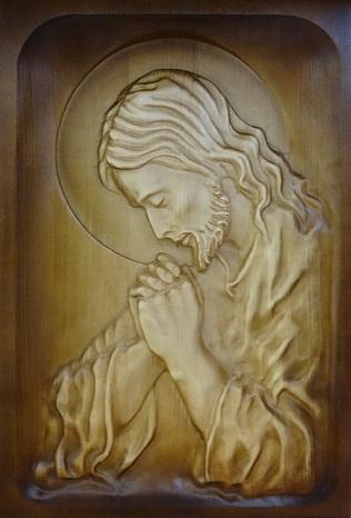 Drevorezba: Obraz - Modliaci sa Ježiš (DR-2B)