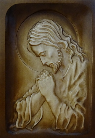 Drevorezba: Obraz - Modliaci sa Ježiš (DR-2F)