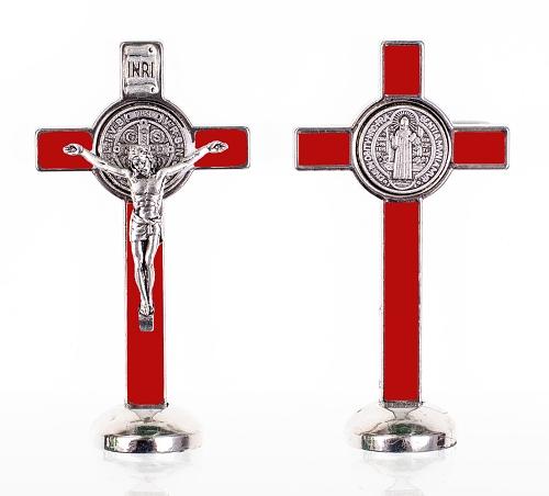 Kríž kov. na postavenie (K3022) Benediktínsky - červený