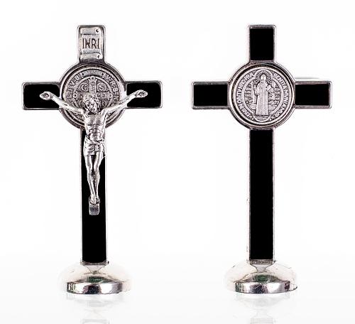 Kríž kov. na postavenie (K3022) Benediktínsky - čierny