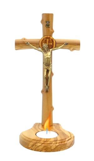 Kríž drev. so svietnikom (PG670-LUM) - bledý