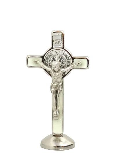Kríž kov. na postavenie (592-B) Benediktínsky - fosforový