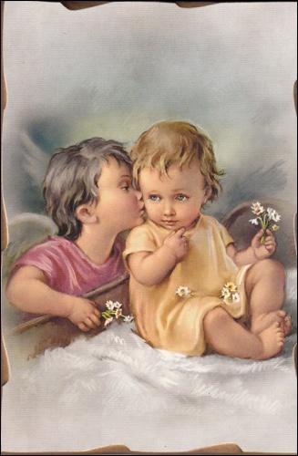 Obraz na dreve: Anjel s dieťaťom (15x10)