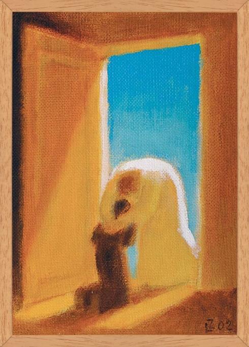 Obraz: Boh a človek pri nebeskej bráne (40x30)