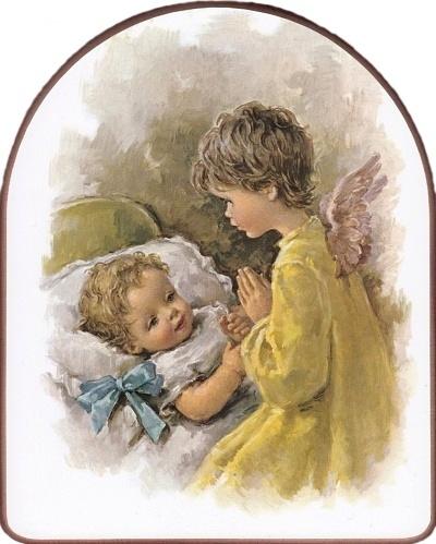 Obraz na dreve (ODDZ004) - Dieťa s anjelom