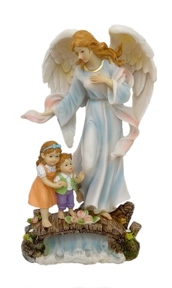 Anjel strážny s deťmi (5187B) - modrý