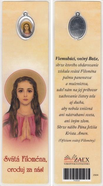 Záložka s medailónom (Z004) Svätá Filoména, oroduj za nás!