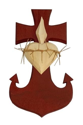 Drevorezba: Srdce Kotva Kríž (č.19) - mahagónová