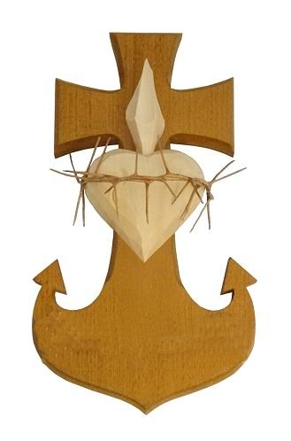 Drevorezba: Srdce Kotva Kríž (č.19) - bledohnedá