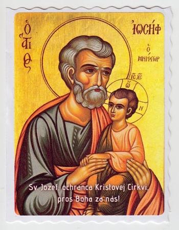 Samolepka - Sv. Jozef, ochranca... (Ikona)