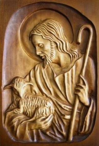 Drevorezba: Obraz - Pán Ježiš pastier (DR-3B)