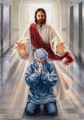 Obraz na dreve: Pán Ježiš a zdravotník (20×15)