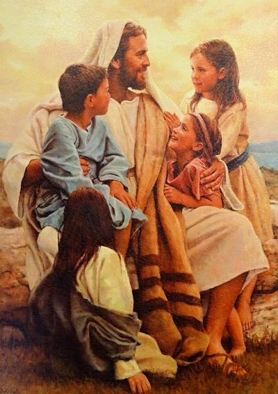 Obraz na dreve: Pán Ježiš a deti (40×30)