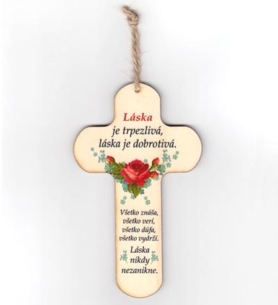 Drevený krížik s nápisom - Láska je trpezlivá...