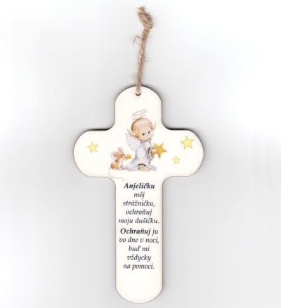 Drevený krížik s nápisom - Anjeličku môj strážničku...
