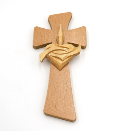 Drevorezba: Kríž so srdcom (č.30) - buk