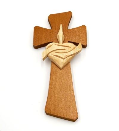 Drevorezba: Kríž so srdcom (č.30) - dub