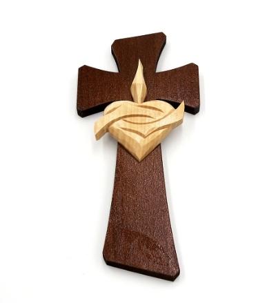 Drevorezba: Kríž so srdcom (č.30) - orech