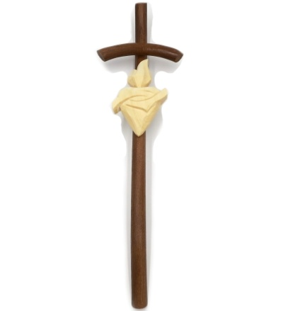 Drevorezba: Kríž ohýbaný so srdcom (č.11) - orech