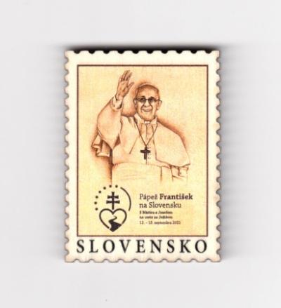 Magnetka drev. Pápež František na Slovensku (známka)