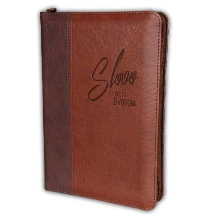 Biblia ekumenická, edícia SLOVO, dvojfarebná so zipsom, hnedá, bez DT