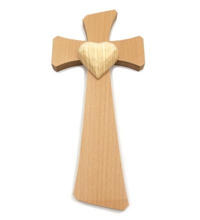 Drevorezba: Kríž so srdcom (č.22) - buk